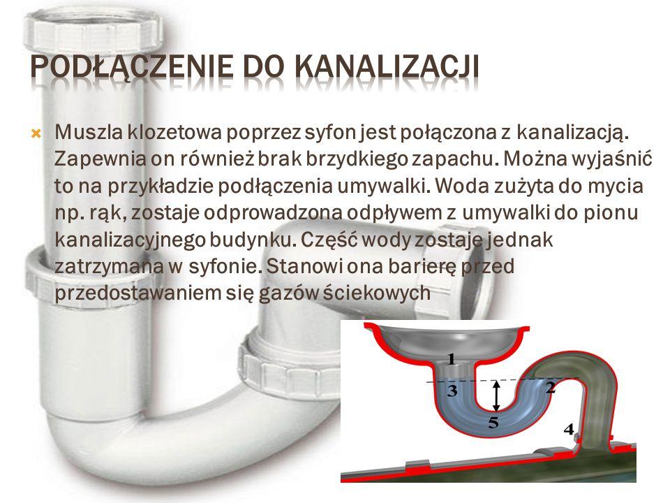  Muszla klozetowa poprzez syfon jest połączona z kanalizacją. Zapewnia on również brak brzydkiego zapachu. Można wyjaśnić to na przykładzie podłączen