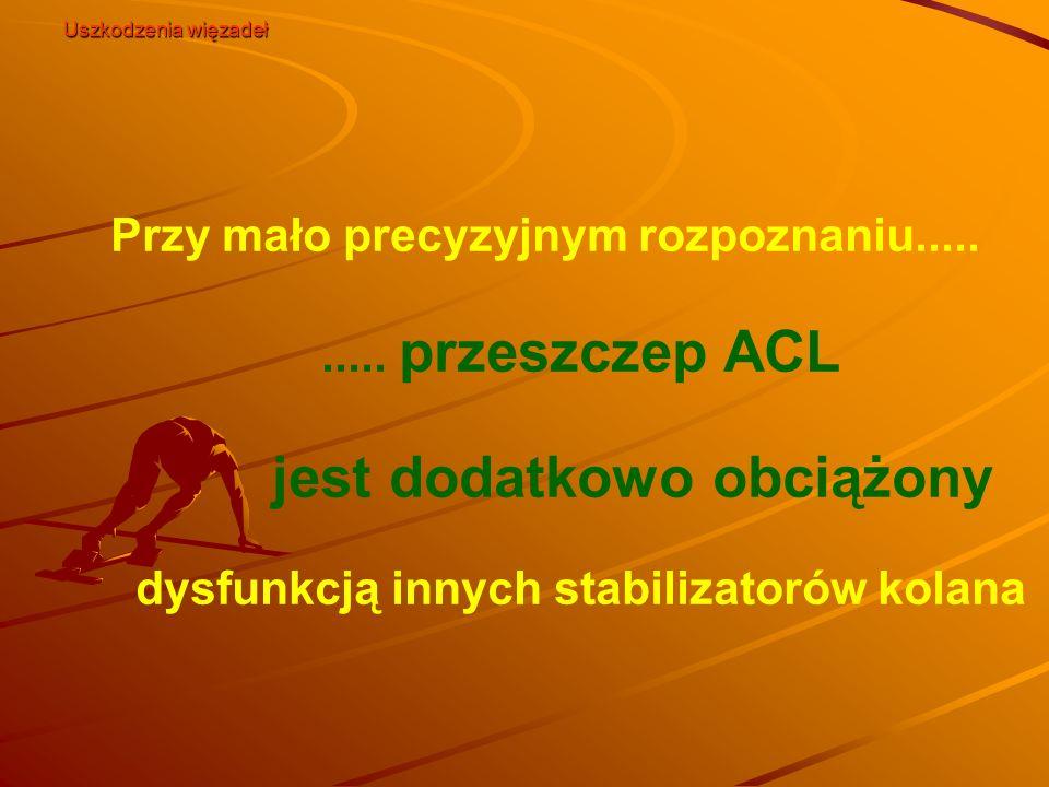 Przy mało precyzyjnym rozpoznaniu.......... przeszczep ACL jest dodatkowo obciążony dysfunkcją innych stabilizatorów kolana Uszkodzenia więzadeł