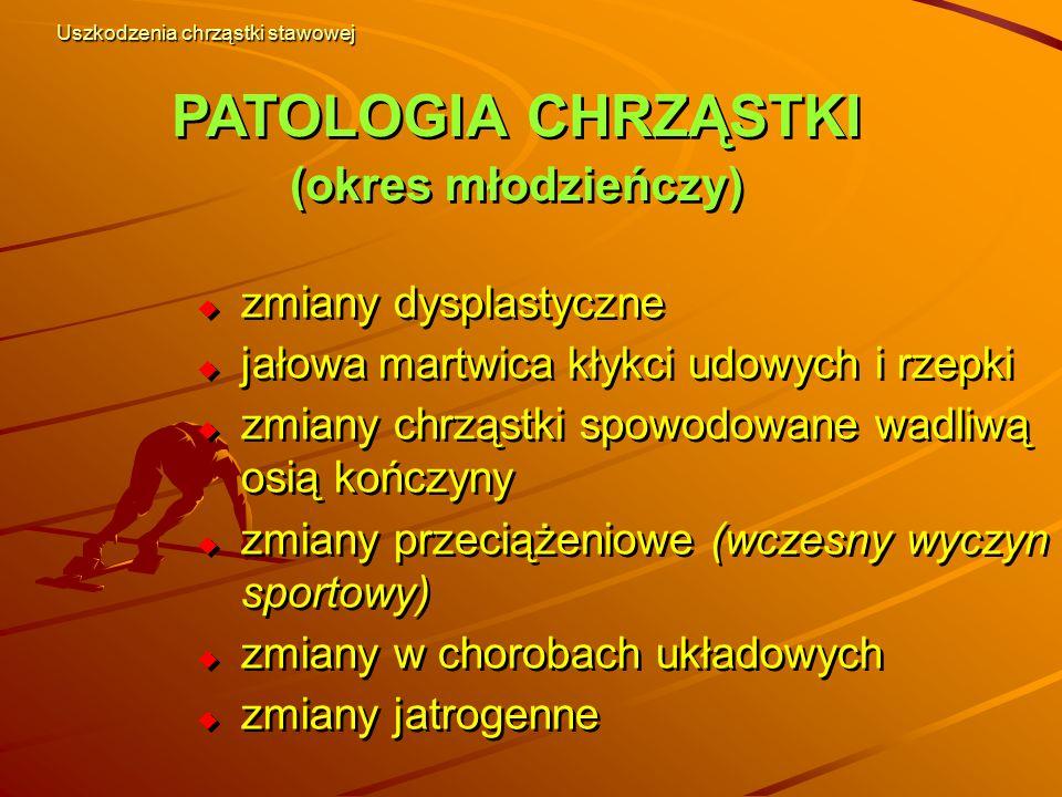 PATOLOGIA CHRZĄSTKI (okres młodzieńczy) PATOLOGIA CHRZĄSTKI (okres młodzieńczy)  zmiany dysplastyczne  jałowa martwica kłykci udowych i rzepki  zmi