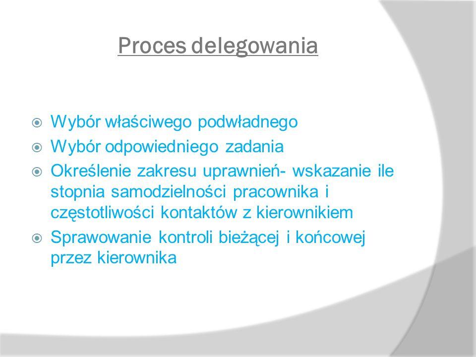 Proces delegowania  Wybór właściwego podwładnego  Wybór odpowiedniego zadania  Określenie zakresu uprawnień- wskazanie ile stopnia samodzielności p