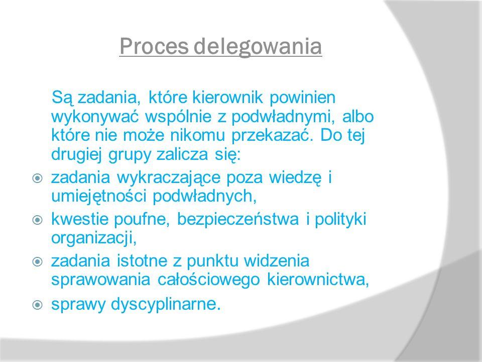 Proces delegowania Są zadania, które kierownik powinien wykonywać wspólnie z podwładnymi, albo które nie może nikomu przekazać. Do tej drugiej grupy z