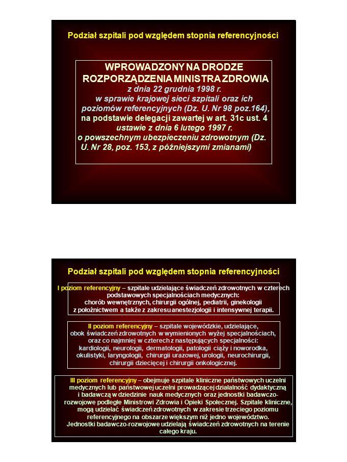 WPROWADZONY NA DRODZE ROZPORZĄDZENIA MINISTRA ZDROWIA z dnia 22 grudnia 1998 r. w sprawie krajowej sieci szpitali oraz ich poziomów referencyjnych (Dz