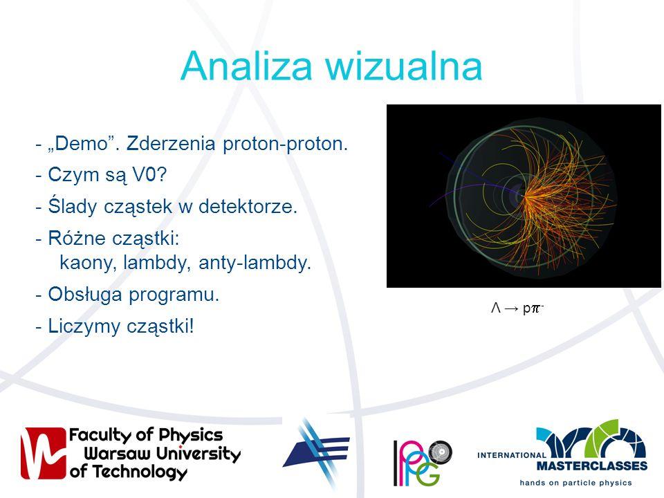 """Analiza wizualna - """"Demo"""". Zderzenia proton-proton. - Czym są V0? - Ślady cząstek w detektorze. - Różne cząstki: kaony, lambdy, anty-lambdy. - Obsługa"""