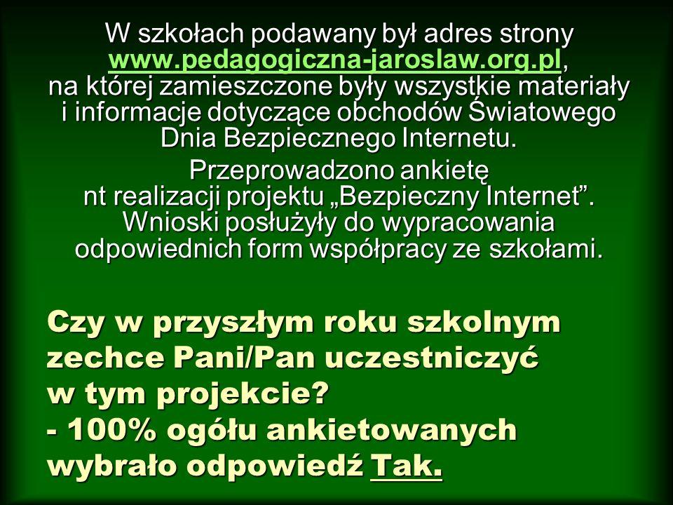 W szkołach podawany był adres strony www.pedagogiczna-jaroslaw.org.pl, na której zamieszczone były wszystkie materiały i informacje dotyczące obchodów Światowego Dnia Bezpiecznego Internetu.