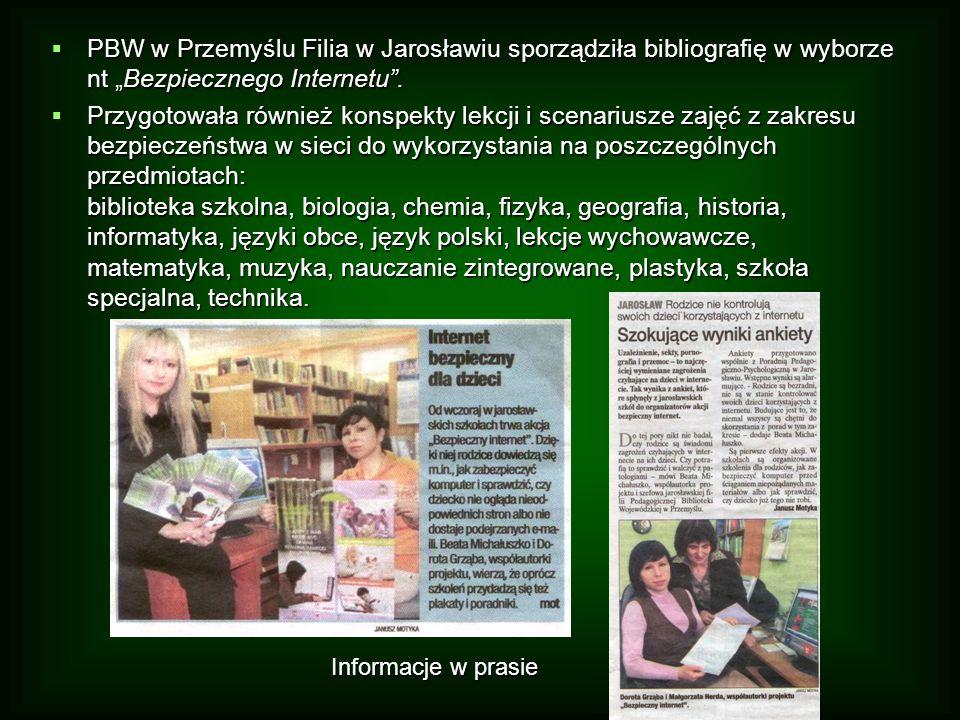 """ PBW w Przemyślu Filia w Jarosławiu sporządziła bibliografię w wyborze nt """"Bezpiecznego Internetu ."""