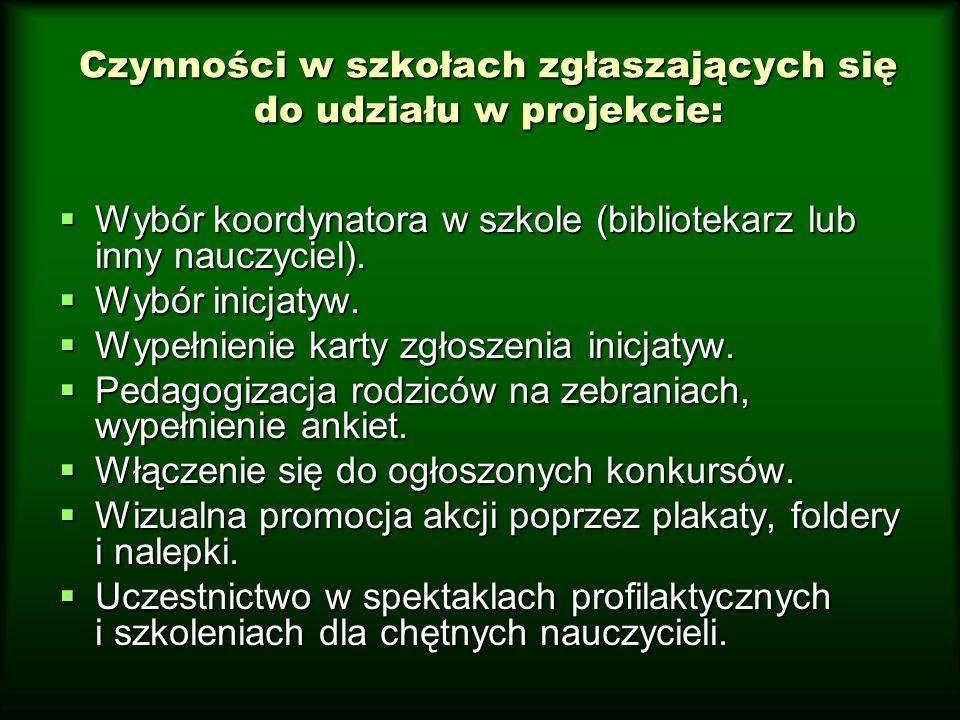 Czynności w szkołach zgłaszających się do udziału w projekcie:  Wybór koordynatora w szkole (bibliotekarz lub inny nauczyciel).