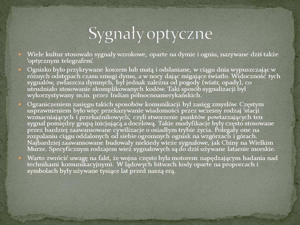 Wiele kultur stosowało sygnały wzrokowe, oparte na dymie i ogniu, nazywane dziś także 'optycznym telegrafem'. Ognisko było przykrywane koszem lub matą