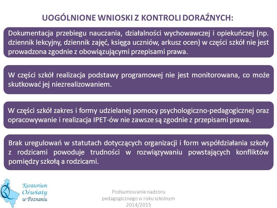 Podsumowanie nadzoru pedagogicznego w roku szkolnym 2014/2015 UOGÓLNIONE WNIOSKI Z KONTROLI DORAŹNYCH: Dokumentacja przebiegu nauczania, działalności
