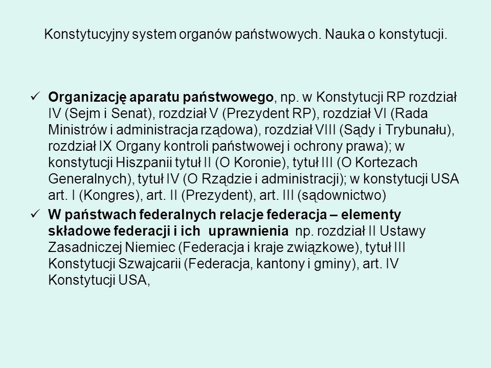 Konstytucyjny system organów państwowych. Nauka o konstytucji. Organizację aparatu państwowego, np. w Konstytucji RP rozdział IV (Sejm i Senat), rozdz