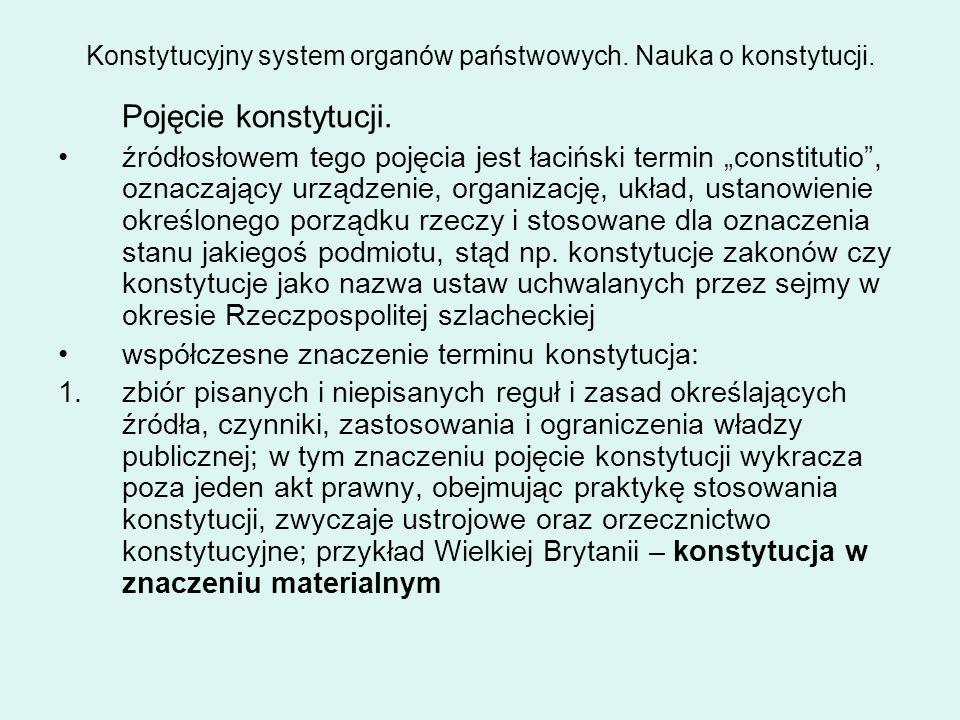 """Konstytucyjny system organów państwowych. Nauka o konstytucji. Pojęcie konstytucji. źródłosłowem tego pojęcia jest łaciński termin """"constitutio"""", ozna"""