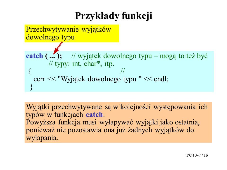 Przykłady funkcji catch (...