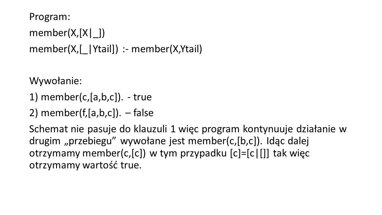Program: member(X,[X|_]) member(X,[_|Ytail]) :- member(X,Ytail) Wywołanie: 1) member(c,[a,b,c]).