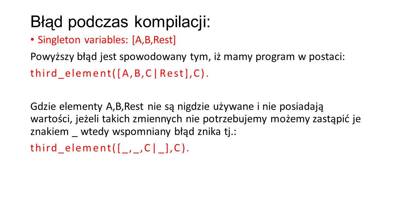 Błąd podczas kompilacji: Singleton variables: [A,B,Rest] Powyższy błąd jest spowodowany tym, iż mamy program w postaci: third_element([A,B,C|Rest],C).