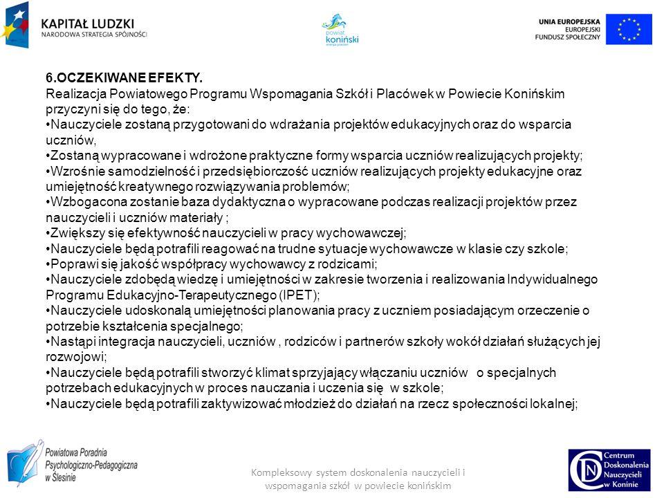 Kompleksowy system doskonalenia nauczycieli i wspomagania szkół w powiecie konińskim 6.OCZEKIWANE EFEKTY.