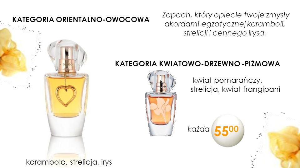 11 KATEGORIA ORIENTALNO-OWOCOWA karambola, strelicja, irys KATEGORIA KWIATOWO-DRZEWNO -PIŻMOWA kwiat pomarańczy, strelicja, kwiat frangipani Zapach, który oplecie twoje zmysły akordami egzotycznej karamboli, strelicji i cennego irysa.