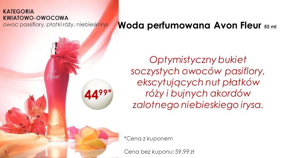3 Woda perfumowana Avon Fleur 50 ml Optymistyczny bukiet soczystych owoców pasiflory, ekscytujących nut płatków róży i bujnych akordów zalotnego niebieskiego irysa.