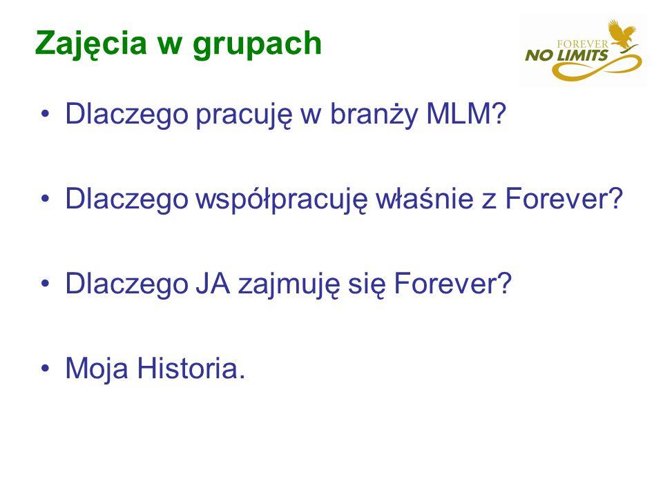 Zajęcia w grupach Dlaczego pracuję w branży MLM? Dlaczego współpracuję właśnie z Forever? Dlaczego JA zajmuję się Forever? Moja Historia.