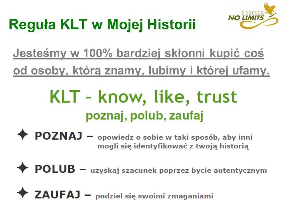 Reguła KLT w Mojej Historii Jesteśmy w 100% bardziej skłonni kupić coś od osoby, którą znamy, lubimy i której ufamy.