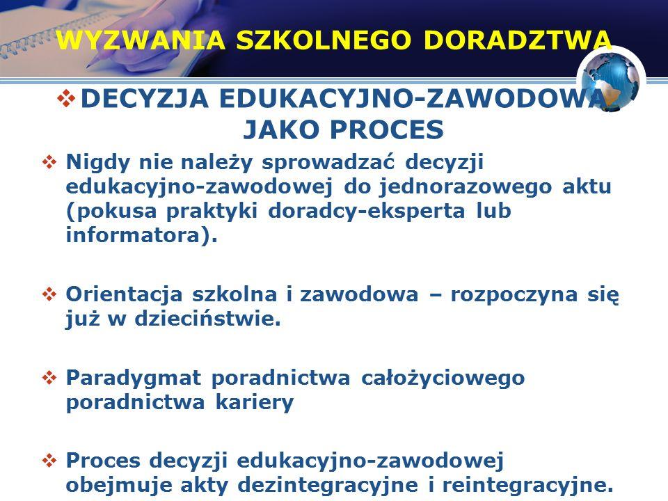 8 Tzw.diament decyzji zawodowych (za: Hornowska, Paluchowski, 2004) mało lub brak wiedzy nt.