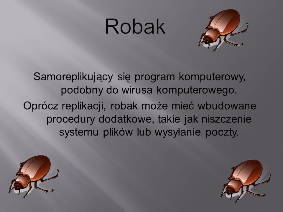 Samoreplikujący się program komputerowy, podobny do wirusa komputerowego. Oprócz replikacji, robak może mieć wbudowane procedury dodatkowe, takie jak