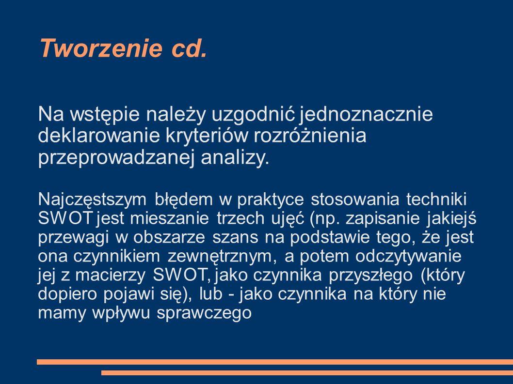 Tworzenie cd. Na wstępie należy uzgodnić jednoznacznie deklarowanie kryteriów rozróżnienia przeprowadzanej analizy. Najczęstszym błędem w praktyce sto