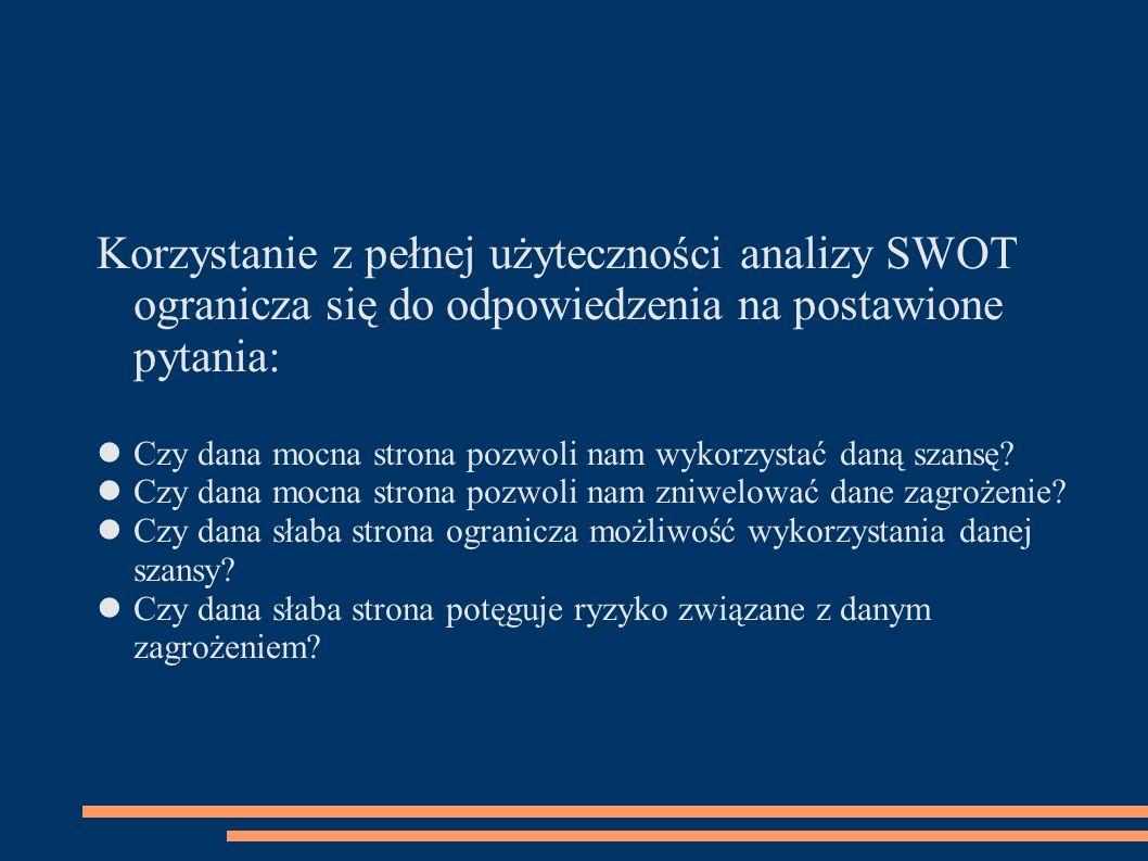 Korzystanie z pełnej użyteczności analizy SWOT ogranicza się do odpowiedzenia na postawione pytania: Czy dana mocna strona pozwoli nam wykorzystać dan