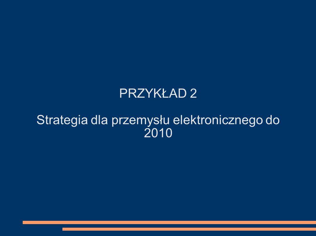 PRZYKŁAD 2 Strategia dla przemysłu elektronicznego do 2010