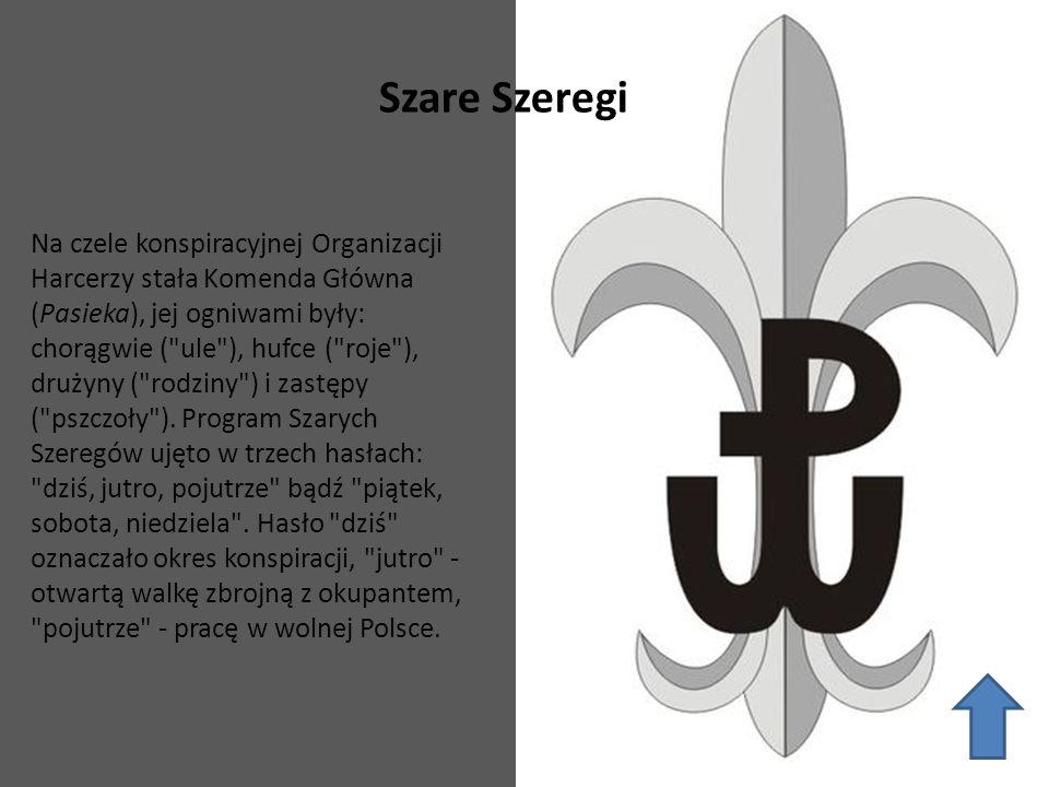 Szare Szeregi Na czele konspiracyjnej Organizacji Harcerzy stała Komenda Główna (Pasieka), jej ogniwami były: chorągwie (