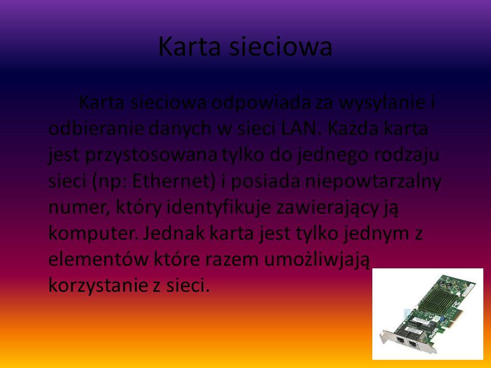 Karta sieciowa Karta sieciowa odpowiada za wysyłanie i odbieranie danych w sieci LAN. Każda karta jest przystosowana tylko do jednego rodzaju sieci (n