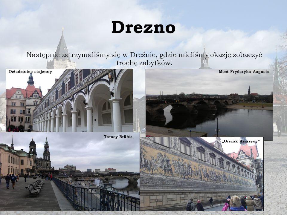 """Drezno Następnie zatrzymaliśmy się w Dreźnie, gdzie mieliśmy okazję zobaczyć trochę zabytków. Dziedziniec stajenny """"Orszak Książęcy"""" Most Fryderyka Au"""
