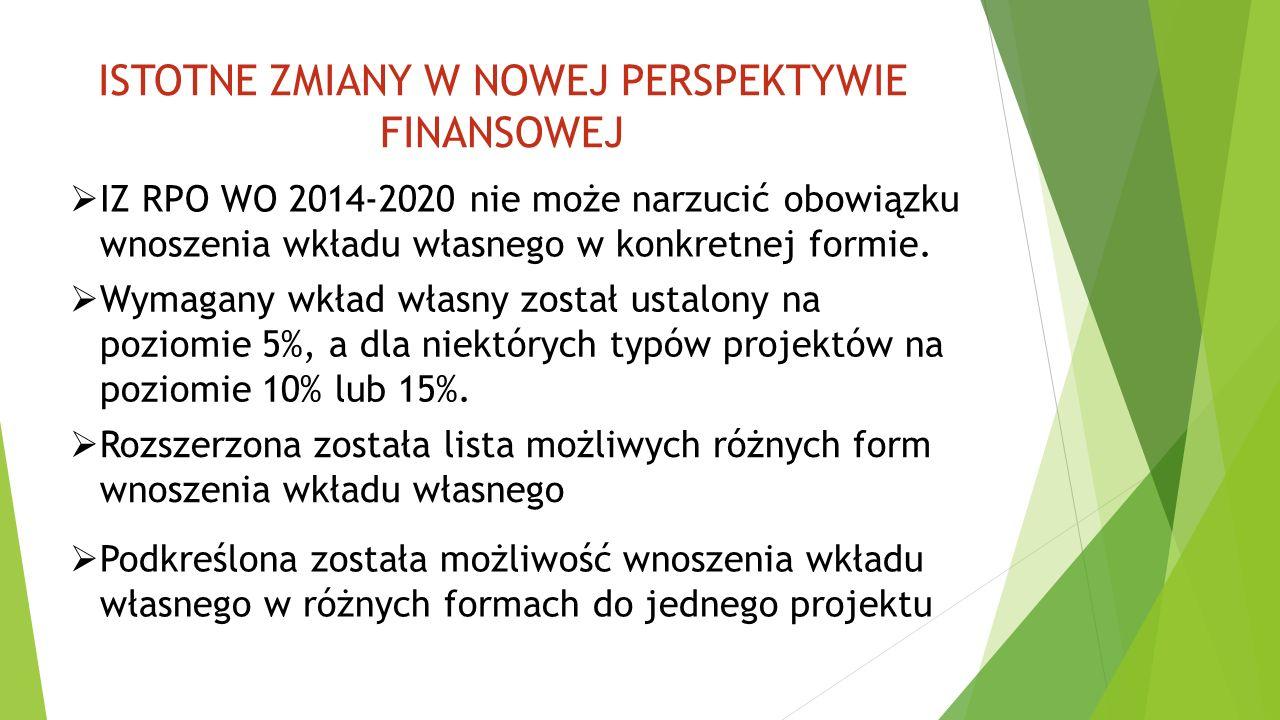 ISTOTNE ZMIANY W NOWEJ PERSPEKTYWIE FINANSOWEJ  IZ RPO WO 2014-2020 nie może narzucić obowiązku wnoszenia wkładu własnego w konkretnej formie.  Wyma