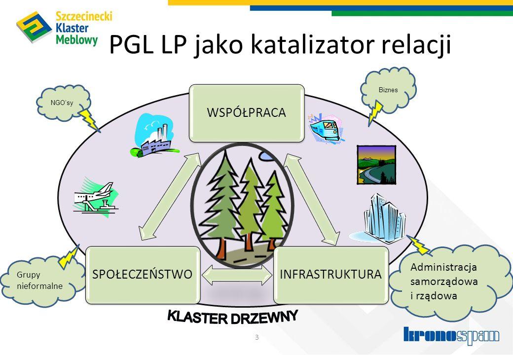 PGL LP jako katalizator relacji 3 Biznes Administracja samorządowa i rządowa NGO'sy Grupy nieformalne WSPÓŁPRACAINFRASTRUKTURASPOŁECZEŃSTWO
