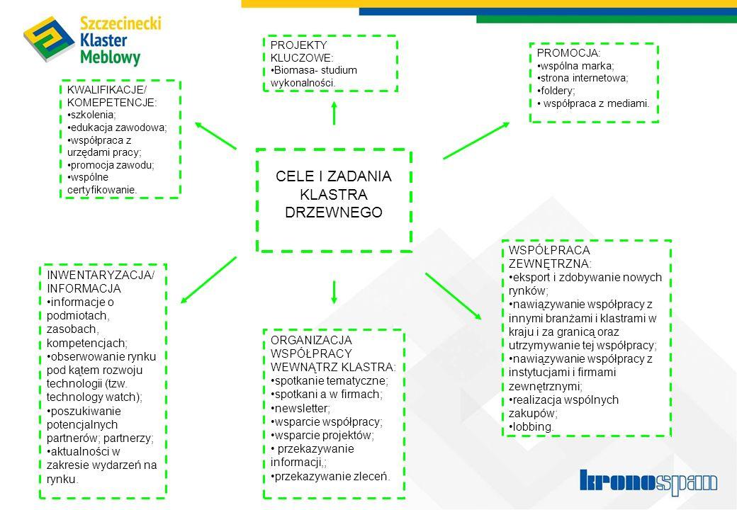 6 CELE I ZADANIA KLASTRA DRZEWNEGO PROMOCJA: wspólna marka; strona internetowa; foldery; współpraca z mediami. PROJEKTY KLUCZOWE: Biomasa- studium wyk