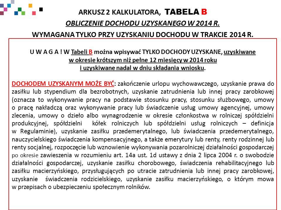 ARKUSZ 2 KALKULATORA, TABELA B OBLICZENIE DOCHODU UZYSKANEGO W 2014 R.