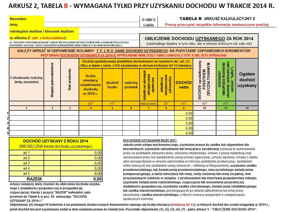 ARKUSZ 2, TABELA B - WYMAGANA TYLKO PRZY UZYSKANIU DOCHODU W TRAKCIE 2014 R.