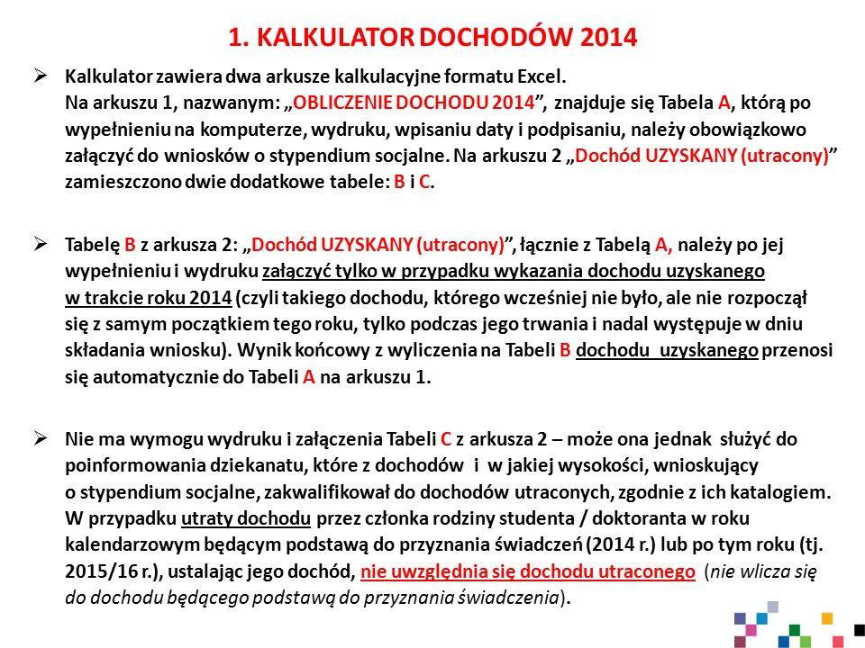 2.KALKULATOR DOCHODÓW 2014  Nie wpisujemy żadnych dochodów utraconych do Tabeli A (ark.