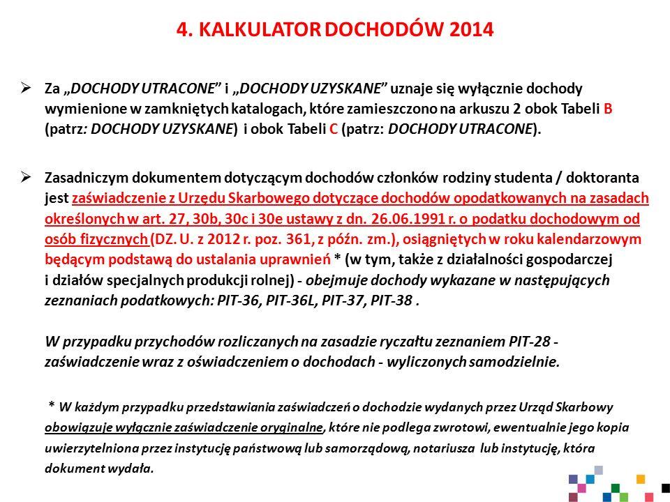 """4. KALKULATOR DOCHODÓW 2014  Za """"DOCHODY UTRACONE"""" i """"DOCHODY UZYSKANE"""" uznaje się wyłącznie dochody wymienione w zamkniętych katalogach, które zamie"""