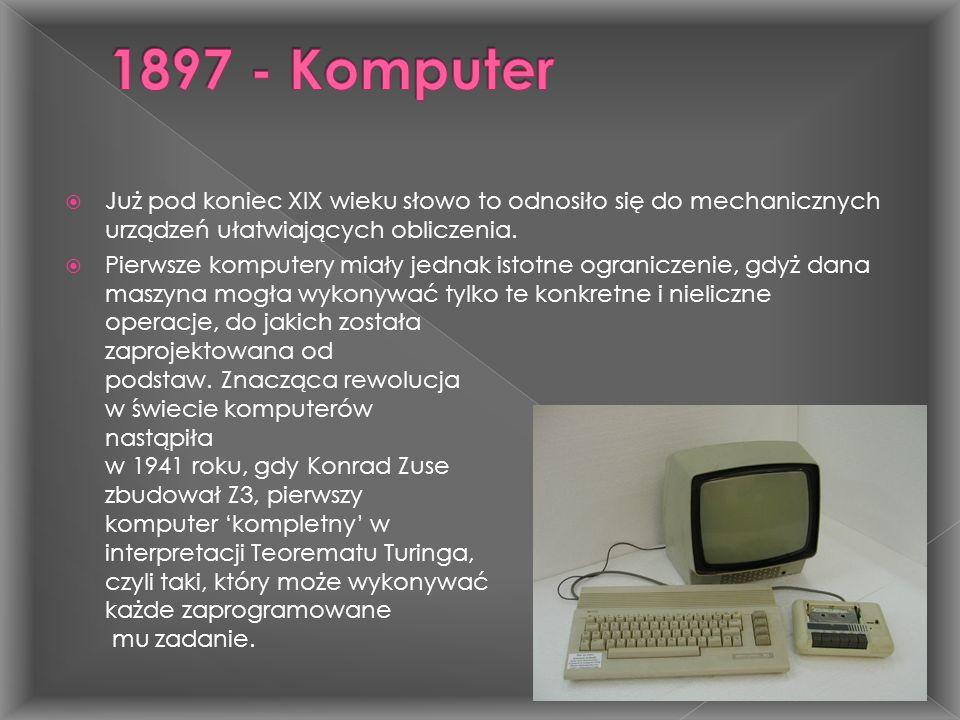  Już pod koniec XIX wieku słowo to odnosiło się do mechanicznych urządzeń ułatwiających obliczenia.  Pierwsze komputery miały jednak istotne ogranic