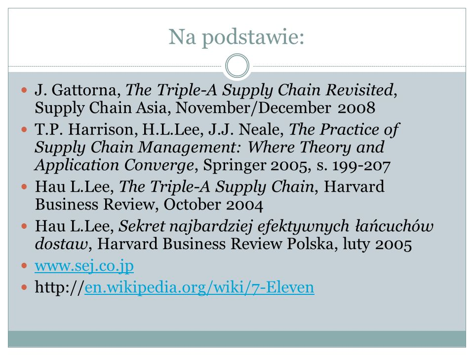 Na podstawie: J. Gattorna, The Triple-A Supply Chain Revisited, Supply Chain Asia, November/December 2008 T.P. Harrison, H.L.Lee, J.J. Neale, The Prac