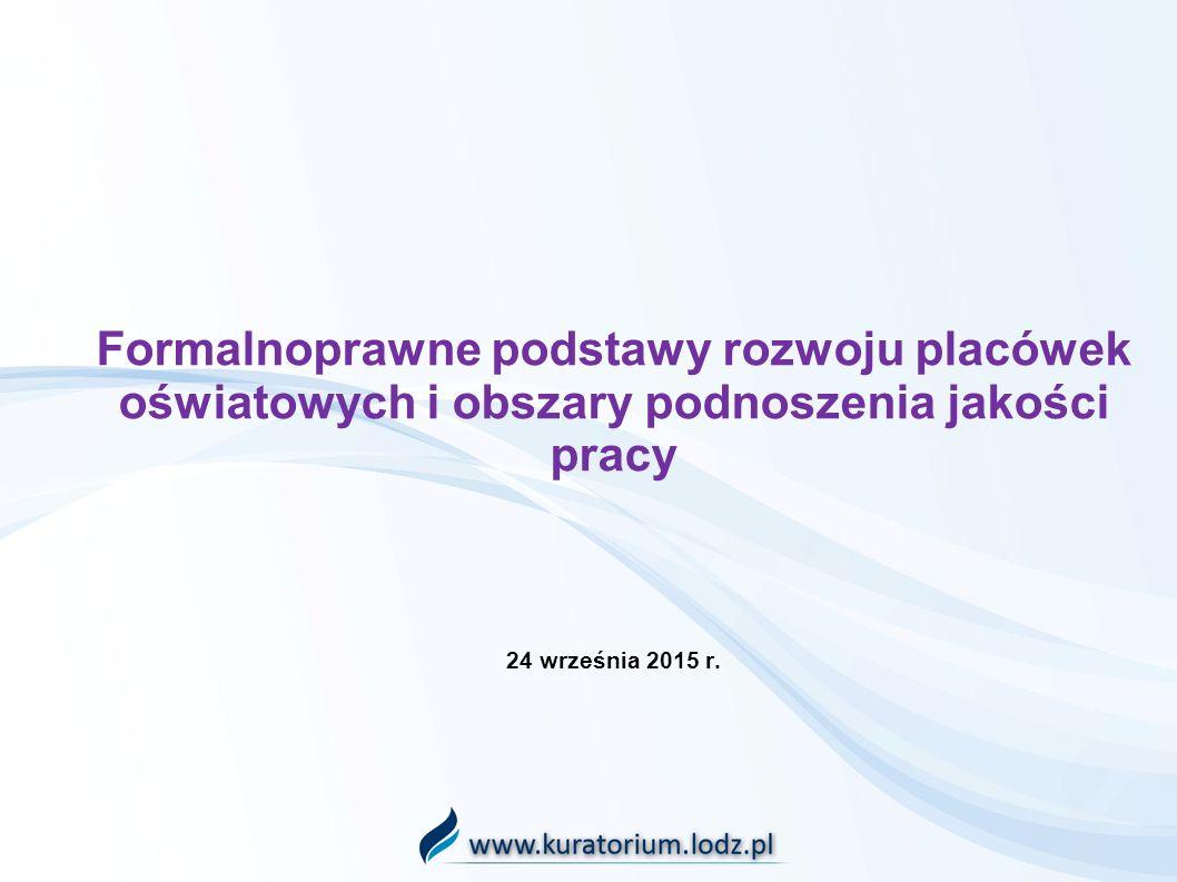 Formalnoprawne podstawy rozwoju placówek oświatowych i obszary podnoszenia jakości pracy 24 września 2015 r.