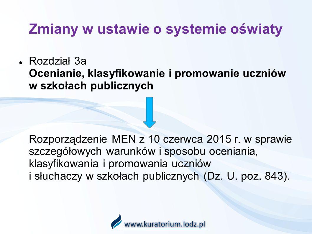Zmiany w ustawie o systemie oświaty Rozdział 3a Ocenianie, klasyfikowanie i promowanie uczniów w szkołach publicznych Rozporządzenie MEN z 10 czerwca 2015 r.