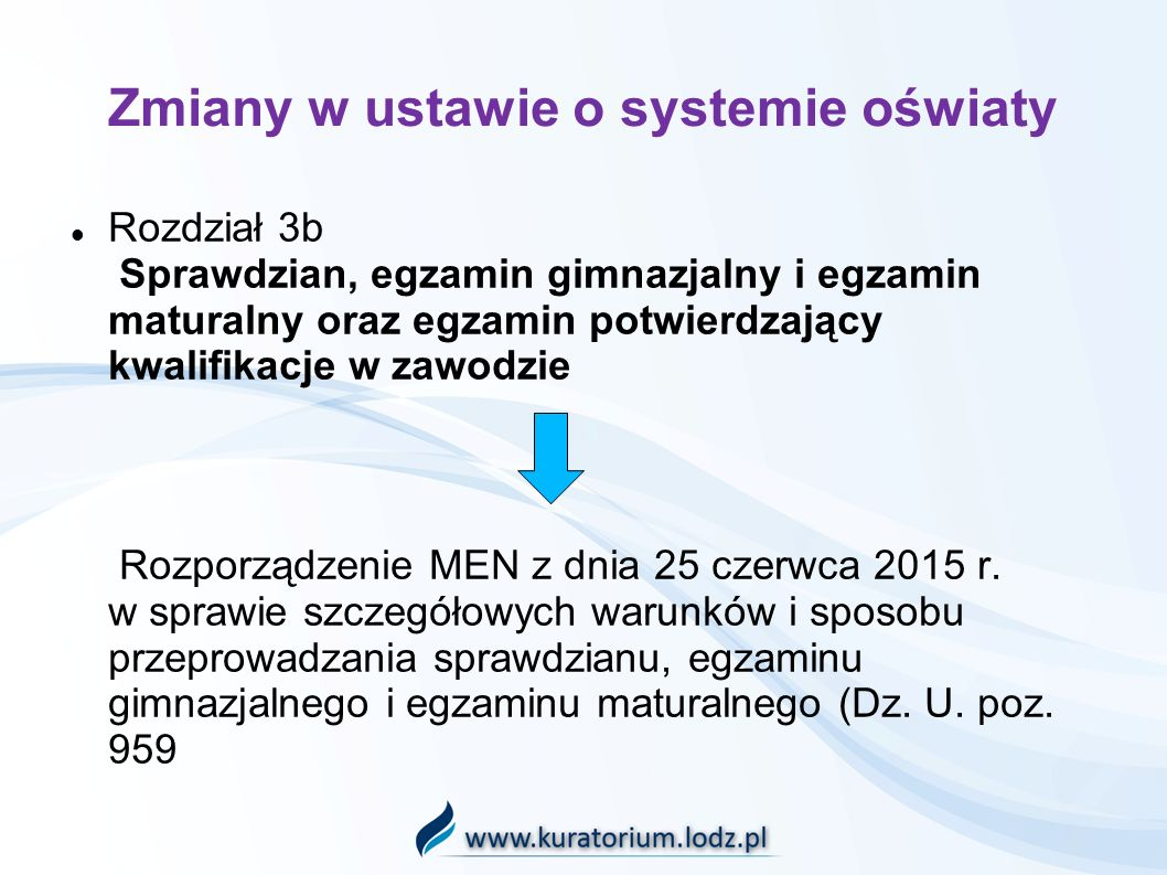 Zmiany w ustawie o systemie oświaty Rozdział 3b Sprawdzian, egzamin gimnazjalny i egzamin maturalny oraz egzamin potwierdzający kwalifikacje w zawodzie Rozporządzenie MEN z dnia 25 czerwca 2015 r.