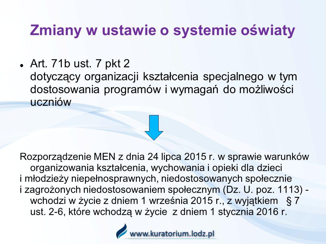 Zmiany w ustawie o systemie oświaty Art. 71b ust.