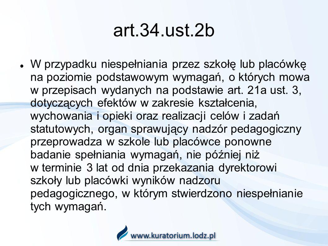 art.34.ust.2b W przypadku niespełniania przez szkołę lub placówkę na poziomie podstawowym wymagań, o których mowa w przepisach wydanych na podstawie art.