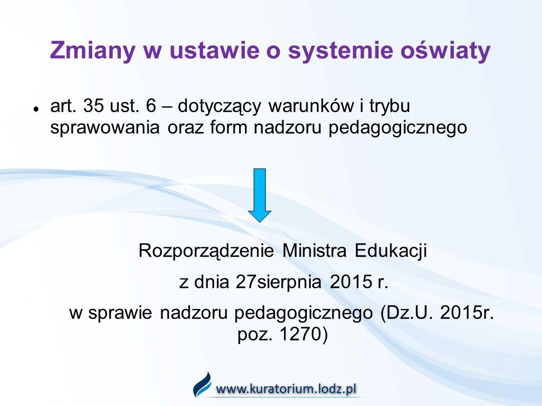 Zmiany w ustawie o systemie oświaty art. 35 ust.