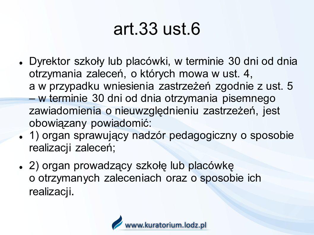 art.33 ust.6 Dyrektor szkoły lub placówki, w terminie 30 dni od dnia otrzymania zaleceń, o których mowa w ust.