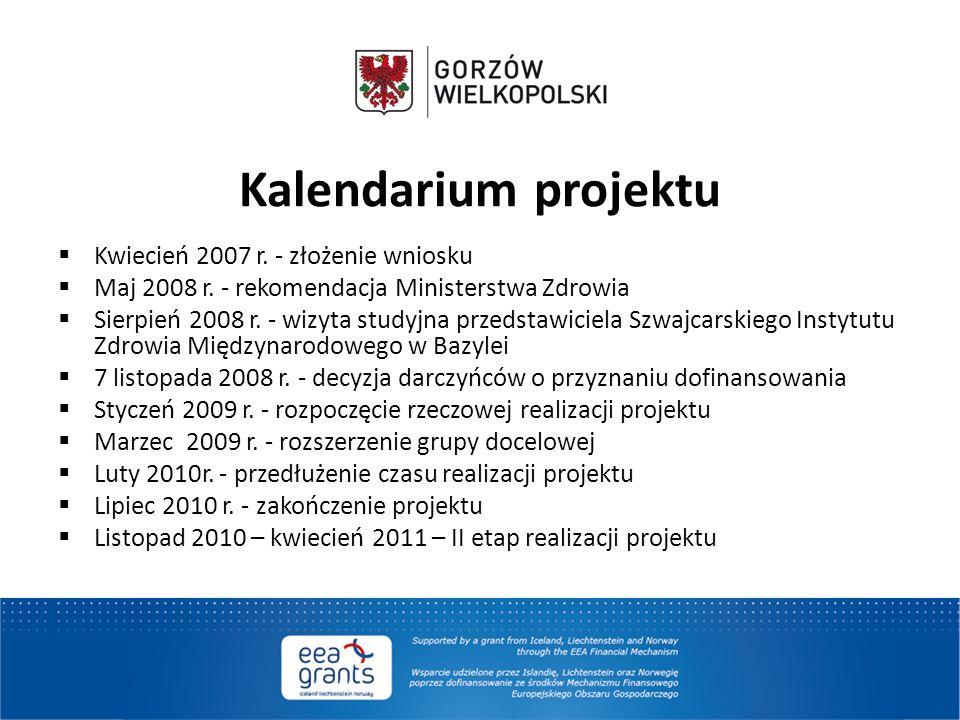 Kalendarium projektu  Kwiecień 2007 r. - złożenie wniosku  Maj 2008 r. - rekomendacja Ministerstwa Zdrowia  Sierpień 2008 r. - wizyta studyjna prze