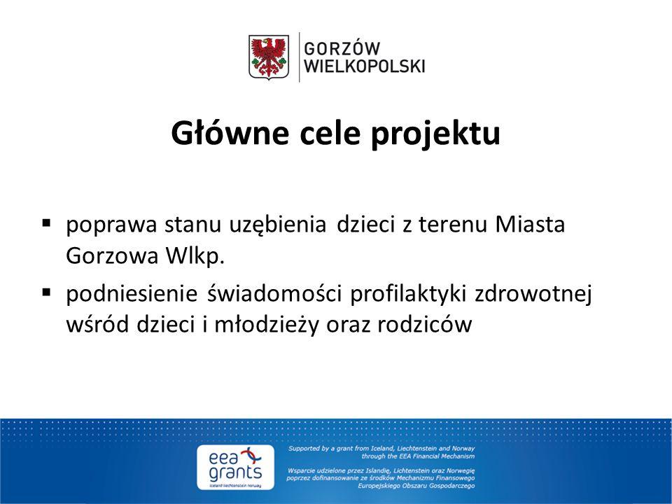 Główne cele projektu  poprawa stanu uzębienia dzieci z terenu Miasta Gorzowa Wlkp.  podniesienie świadomości profilaktyki zdrowotnej wśród dzieci i