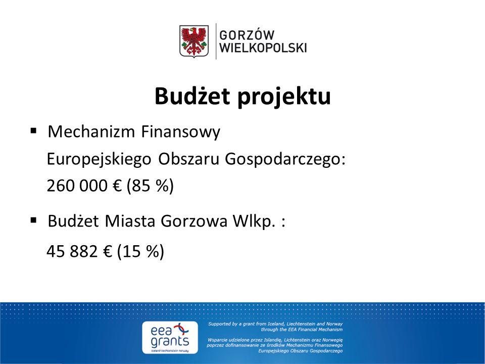 Budżet projektu  Mechanizm Finansowy Europejskiego Obszaru Gospodarczego: 260 000 € (85 %)  Budżet Miasta Gorzowa Wlkp. : 45 882 € (15 %)