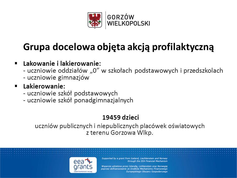"""Grupa docelowa objęta akcją profilaktyczną  Lakowanie i lakierowanie: - uczniowie oddziałów """"0"""" w szkołach podstawowych i przedszkolach - uczniowie g"""